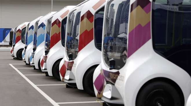 Toyota Motor Corp. e-Palette vehicles at the Olympic village in Tokyo