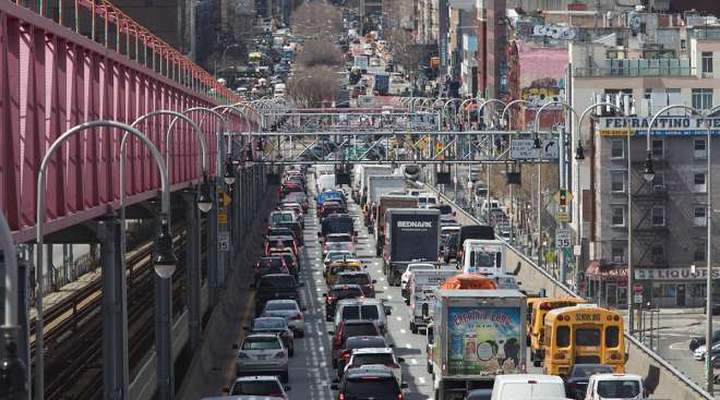 New York City traffic from Brooklyn crosses the Williamsburg Bridge to enter Manhattan in March of 2019.