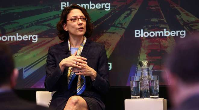 Polly Trottenberg speaks at an event on the future of transportation in 2016.