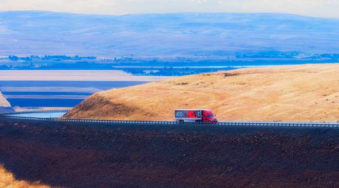 Truck on the road in Oregon