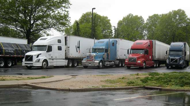 Trucks parked in Mercer County, Pa.
