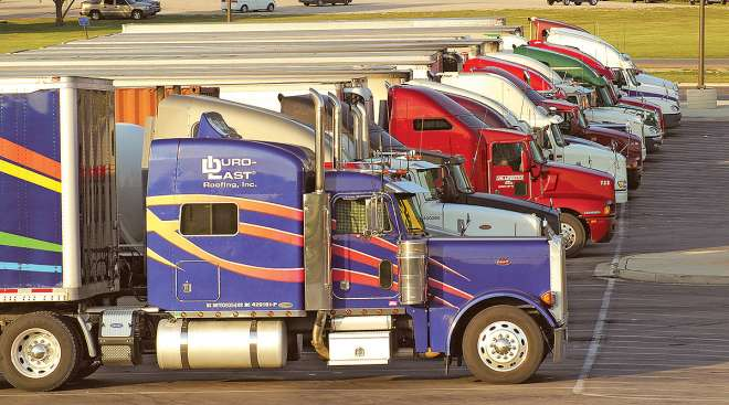 Trucks parked at a truck stop
