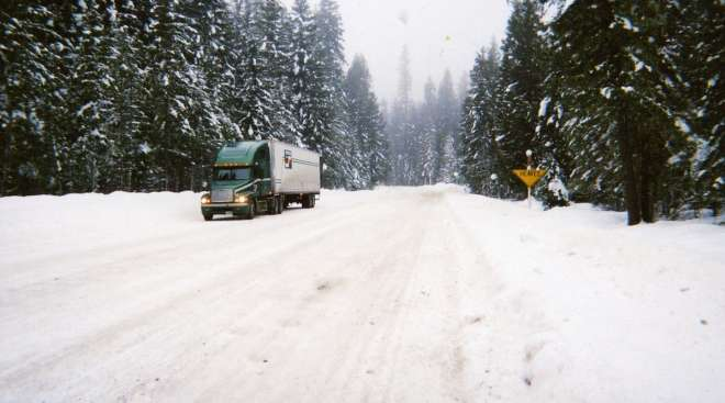 Truck on a snowy Idaho highway