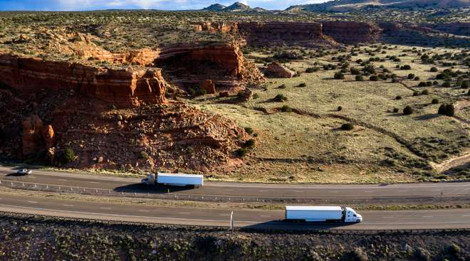 Trucks on highway in New Mexico