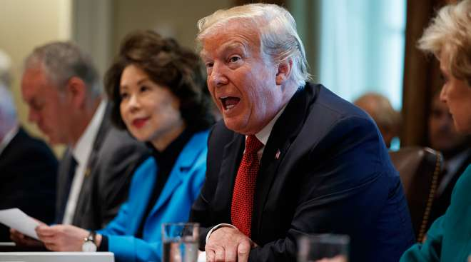 Trump and Chao in Cabinet meeting