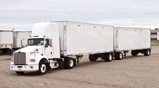 Twin 33-foot trailers