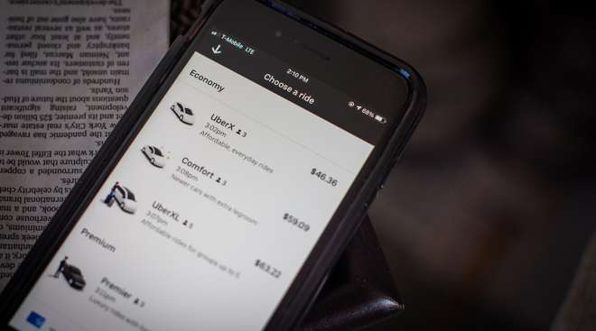 The Uber Technologies application on a smartphone