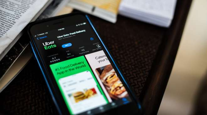 The Uber Eats application on a smartphone