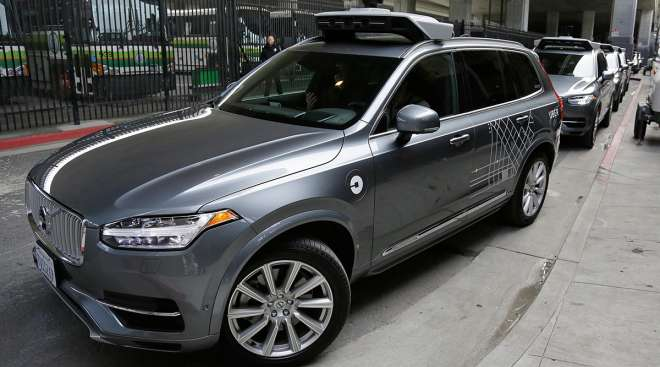 A self-driving Volvo Uber heads out for a test drive in San Francisco. Ride-hailing company Uber Technologies and Volvo Cars signed a $300 million deal for Volvo to provide SUVs to Uber for autonomous vehicle research.