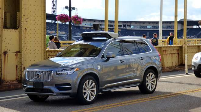 One of Uber's self-driving cars being tested in Pittsburgh.