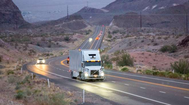An Uber Freight truck makes a self-driving delivery in Arizona