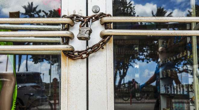 Store locked and chained