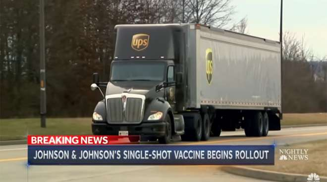 A UPS truck loaded with the Johnson & Johnson vaccine