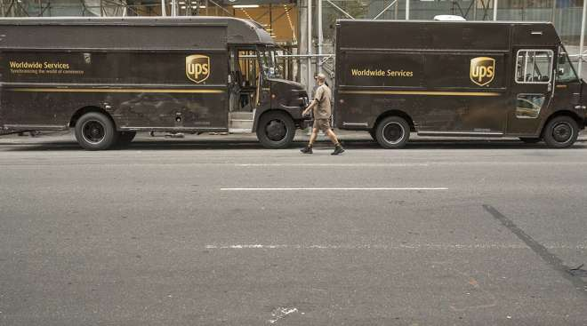 UPS trucks in New York City