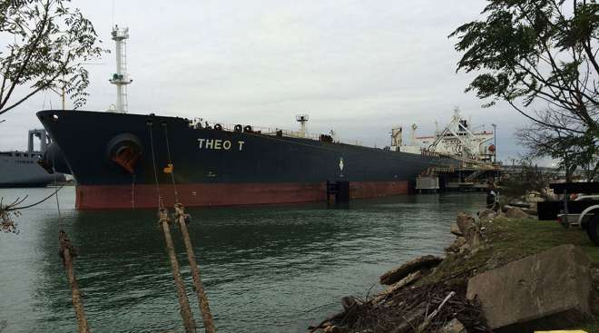 The Theo T oil tanker sits docked at a facility in Corpus Christi, Texas, in December 2015.