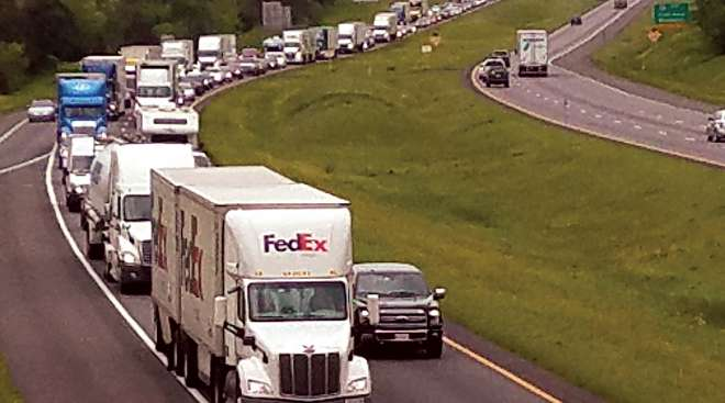 Interstate 81 traffic jam in Virginia