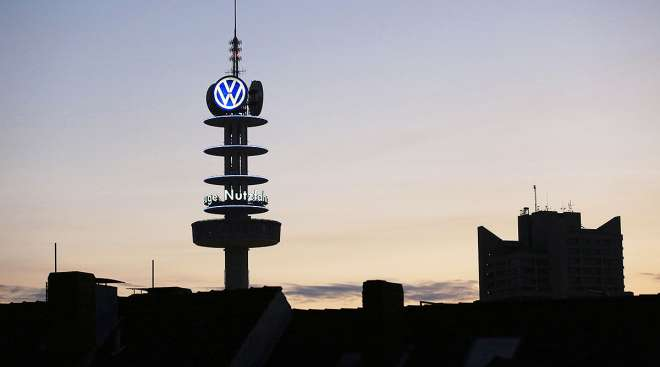 Volkswagen logo on building