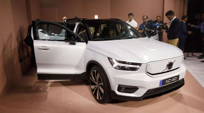The Volvo XC40 Recharge electric SUV is displayed during an event in Los Angeles in October 2019.