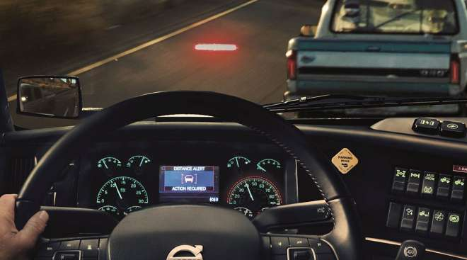 Interior view of Volvo's active driver assist system