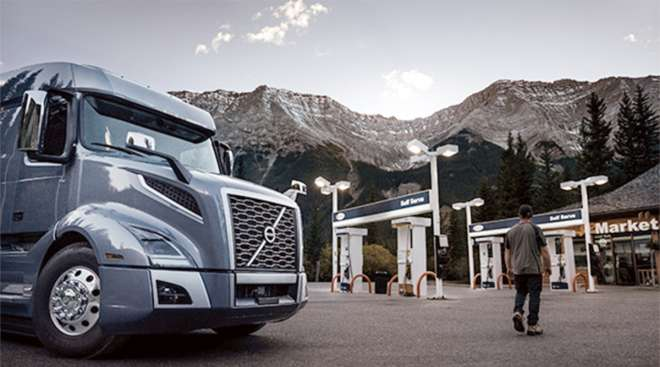 Volvo truck at truck stop