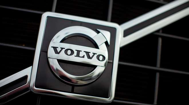 Volvo logo on a truck grille