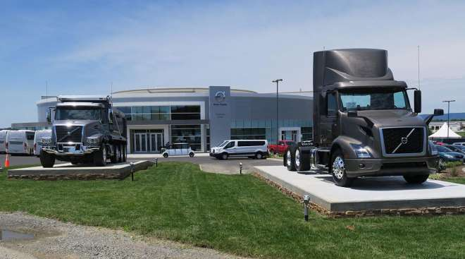 Volvo trucks at a customer service center
