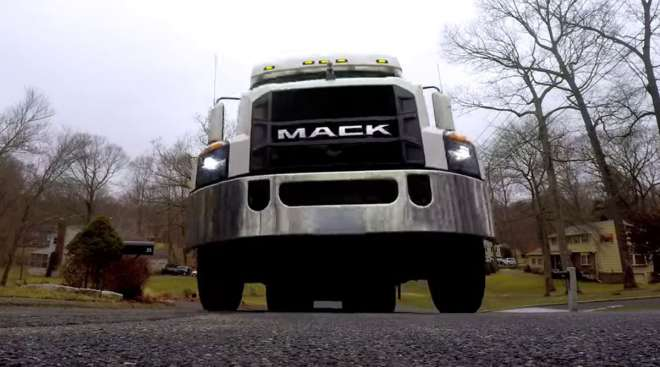 Mack truck making an Amazon Prime delivery