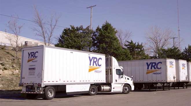 YRC Freight truck and trailers