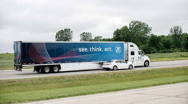 ZF showcases its lane-change assist feature