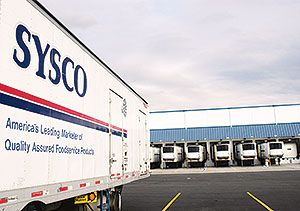 Sysco trailer at a distribution center