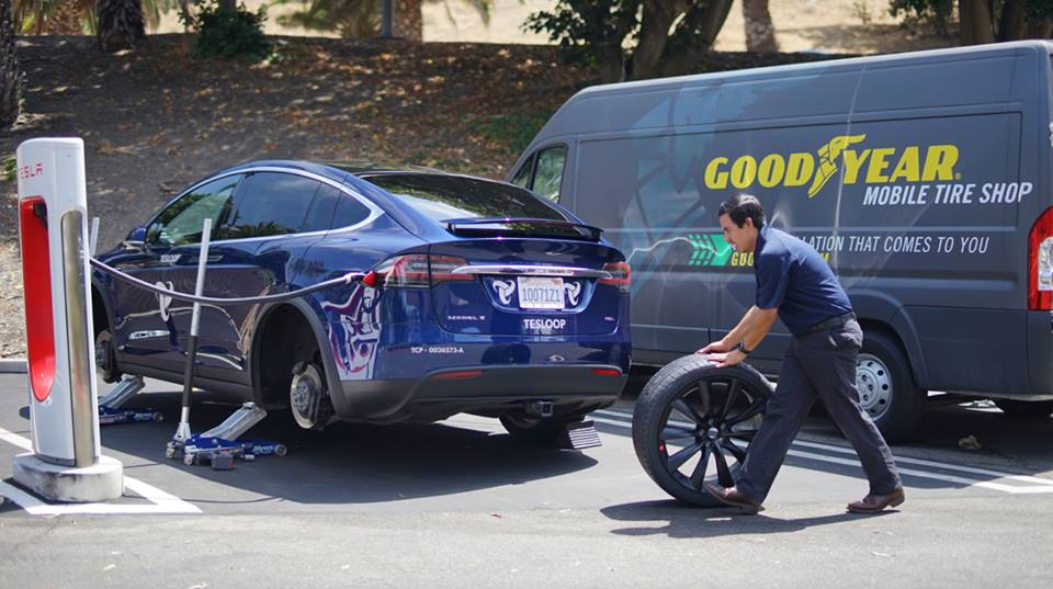 "Goodyear installing tires equipped with wireless sensors to Tesloop's Model X known as ""bravo""."