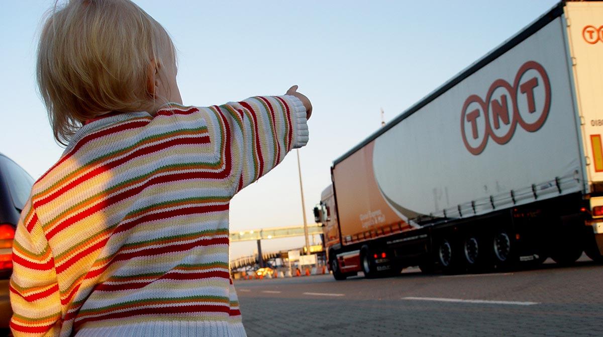 TNT truck and kid
