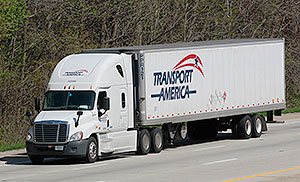 Transport America truck on highway