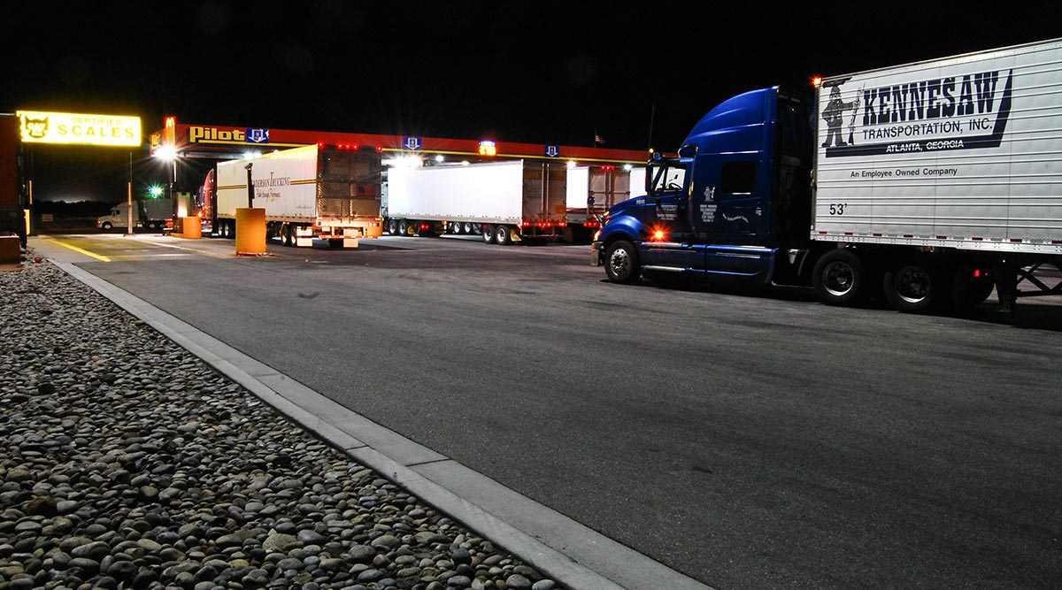 Trucks fuel at a California truck stop