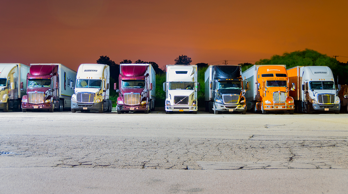 Trucks parked for night at a local Pilot Truck Stop in Franksville, Wisc., a suburb of Milwaukee.
