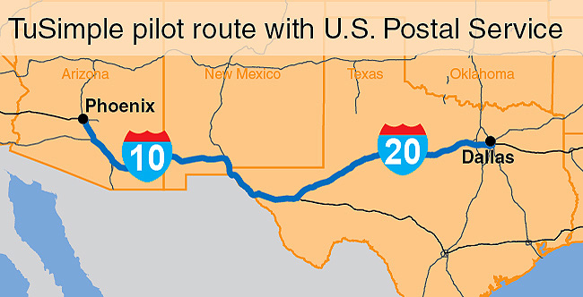 Map of TuSimple/USPS route