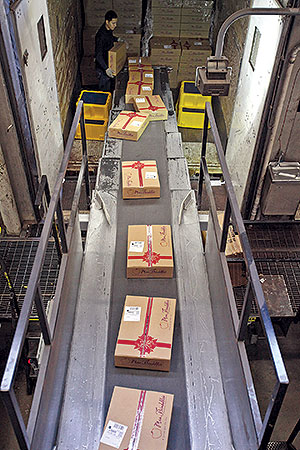 UPS holiday packages on belt