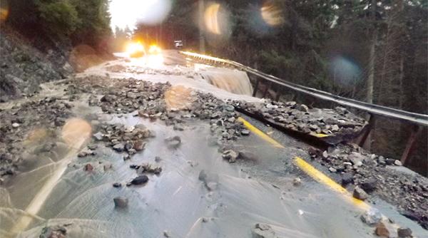 Roadway erodes after flood